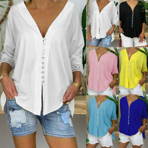 Women-Casual-V-Neck-3-4-Sleeve-Button-Blouse-Summer-Tee-Shirt-Tops-Tunic-673