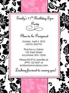 Personalized custom spa birthday party invitation style b ebay image is loading personalized custom spa birthday party invitation style b filmwisefo