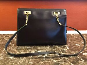 VINTAGE GUCCI CALF LEATHER PUSH-LOCK FRAME CHAIN DETAIL SHOULDER BAG ITALY