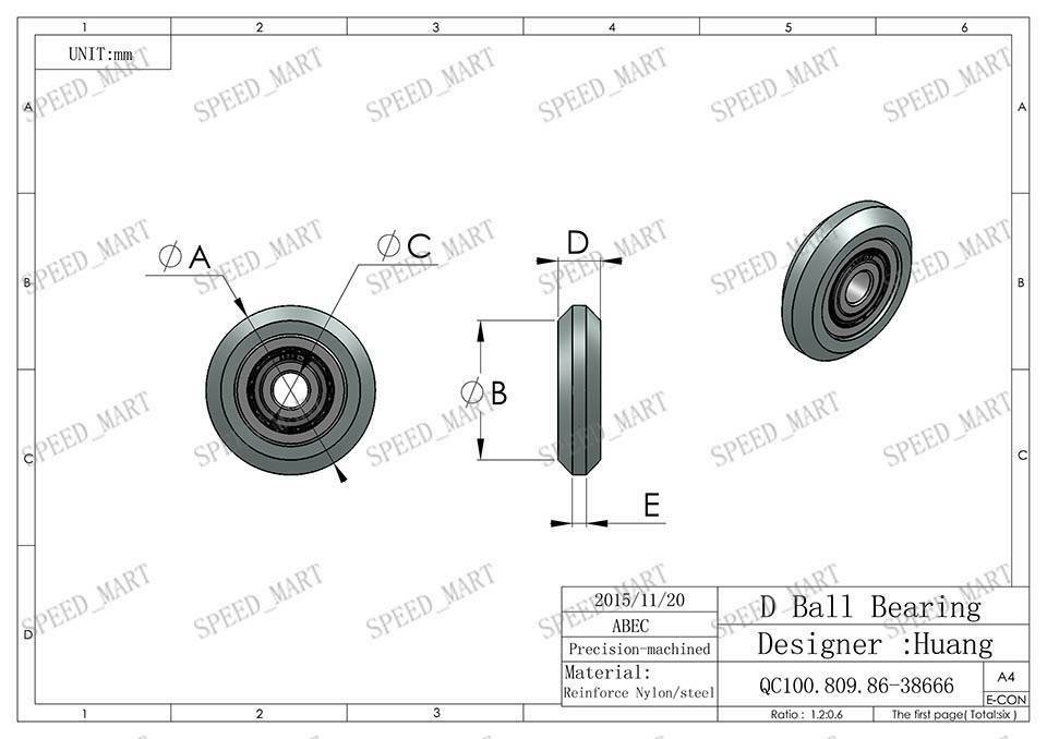 2pcs H Nylon plastic Embedded 696zz Groove Ball Bearings 6*28*9mm Guide Pulley
