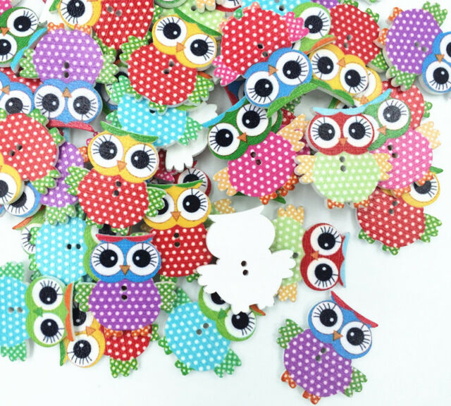 FREE 20pcs Color MIX Owl Pattern Wooden Buttons Fit Sewing and Scrapbook 35MM