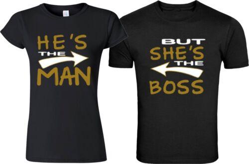 Il est l/'homme mais elle est le patron couple Matching Drôle Mignon T-shirts S-5XL