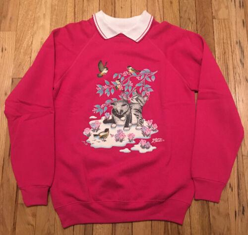 Pink Cat Supervising Birdhouse Sweatshirt by Morning Sun Woman