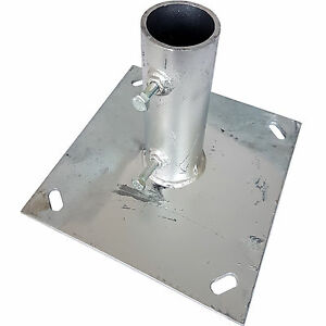 1 5 2 Pole Mast Ground Base Plate Galvanised Stand Mount