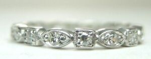 Antique-Art-Deco-Vintage-Diamond-Eternity-Wedding-Band-Ring-SZ-9-UK-R1-2-EGL-USA
