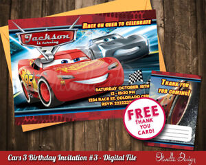 Image Is Loading Cars 3 Birthday Party Invitation Personalized U PRINT