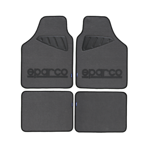 Set tappeti auto universali moquette grigi con logo SPARCO nero battitacco nero
