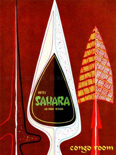 ADVERTISING HOTEL SAHARA CONGO ROOM SPEAR LAS VEGAS NEVADA POSTER PRINT LV925