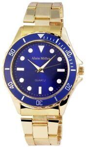 Alain-Miller-Herrenuhr-Blau-Gold-Analog-Metall-Quarz-Armbanduhr-X2800012002