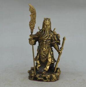 China Folk Fengshui Brass Hold Two Sword Dragon Guan Gong Guan Yu Warrior Statue