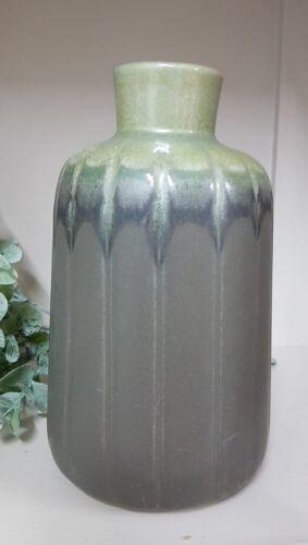 Keramik Vase grau grün Blumenvase Farbverlauf rustikal tolle Deko matt+glänzend
