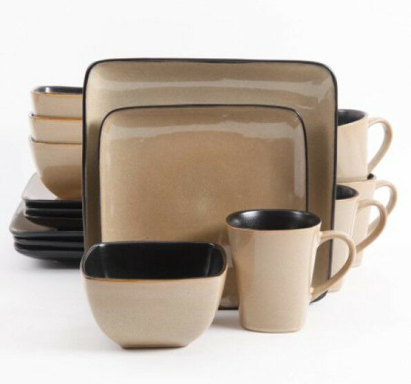 Everyday Rave Square 16-Piece Dinnerware Set, Serves 4 Dishwasher Microwave Safe