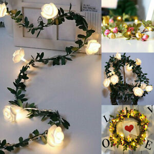 LED-Blumen-Rosen-Lichterkette-Aussenbeleuchtung-Garten-Licht-Hochzeit-Party-Deko