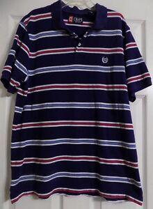 A imagem está carregando Masculina-manga-curta-Chaps-Azul-Camisa -Polo-Tamanho- e7abc4cb57b