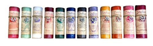 Zodiac Fragrance Pillar Candles With Zodiac Charm Necklace on Jute