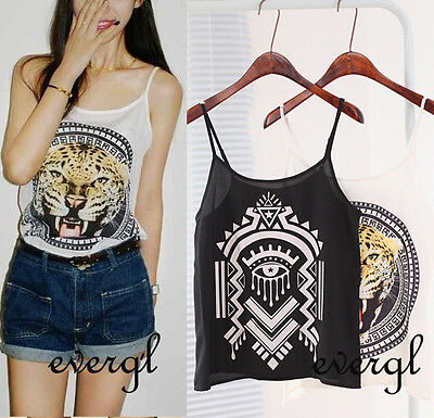 S M L Sexy Womens Sleeveless Casual Chiffon Tiger Print T-Shirt Tops Blouse Vest