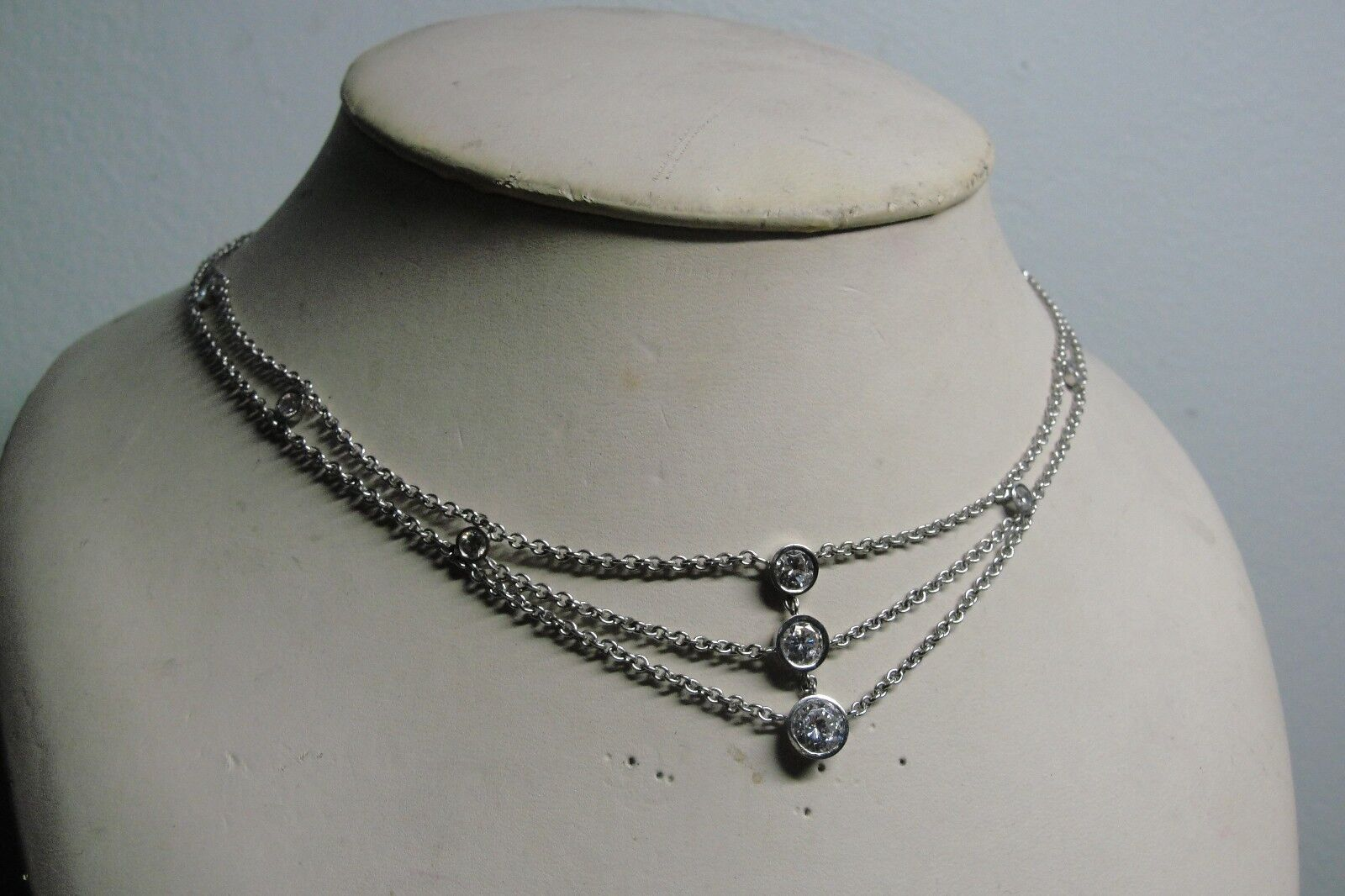 14K White gold Choker with CZ Stones