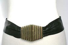 S - Vintage Belt -  80s Black soft leather belt - Gilt clasps
