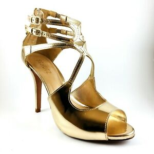 e08a9f9fc6958a Image is loading Schutz-Cadyna-Strappy-Metallic-Patent-Gold-Stiletto-Heels-