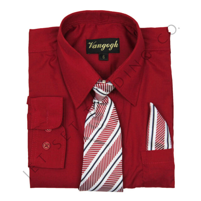 Boys Red Dress Shirt with Matching Tie & Hankie Long Sleeves sizes 4 to 20