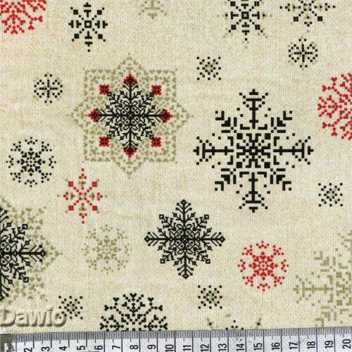 Flocons de neige sur beige Noël Hiver Wonderland patchwork tissu € 16,60//m