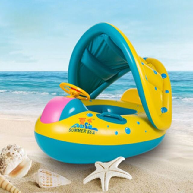 Inflatable Toddler Baby Swim Ring Float Swimming Pool Water Seat with Canopy QW1