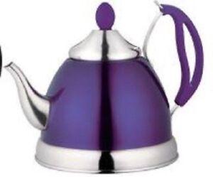 1.5 L Acier Inoxydable Pot De Thé Avec Infuseur Amovible Élégant Violet Bouilloire-afficher Le Titre D'origine Belle Apparence