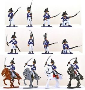NAPOLEONIC-FRENCH-TOY-SOLDIERS-16-PCS-Cavalry-Infantry-Painted-Plastic-FREE-SHIP