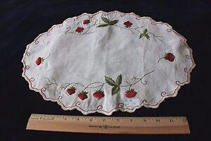 """Antique Society Silk Hand Emb Strawberries Linen Centerpiece c1890~L-11"""" X W-16"""""""