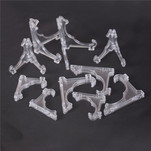 5x Clear Plastic Coin Minerals Plates Cards Badge Display Easel Stand Holder WRD