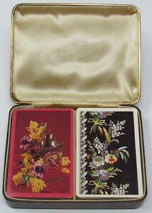 Vintage-BRIDGE-Double-Deck-Playing-Cards-amp-Leather-Like-Case-Arrco-Flowers-Clock