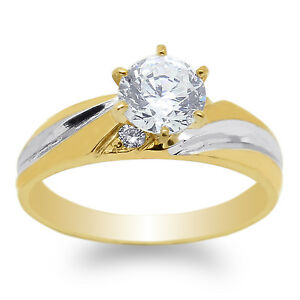 JamesJenny Yellow Gold Plated 0.9ct Round CZ Solitaire Fashion Ring Size 4-10