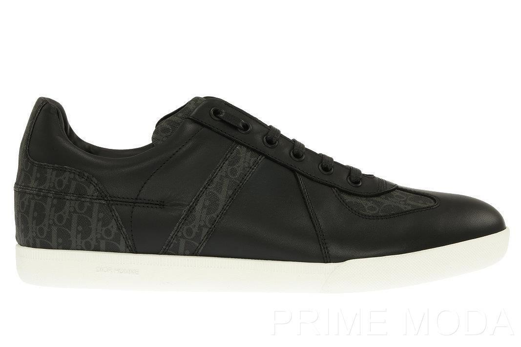 NEW DIOR HOMME MEN'S BLACK LEATHER LOGO LACE-UP CASUAL SNEAKERS SHOES 43/US 10