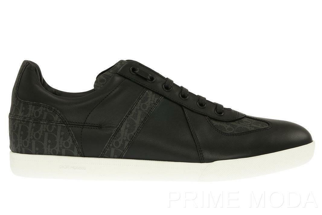 NEW DIOR HOMME MEN'S BLACK LEATHER LOGO LACE-UP CASUAL SNEAKERS SHOES 39/US 6