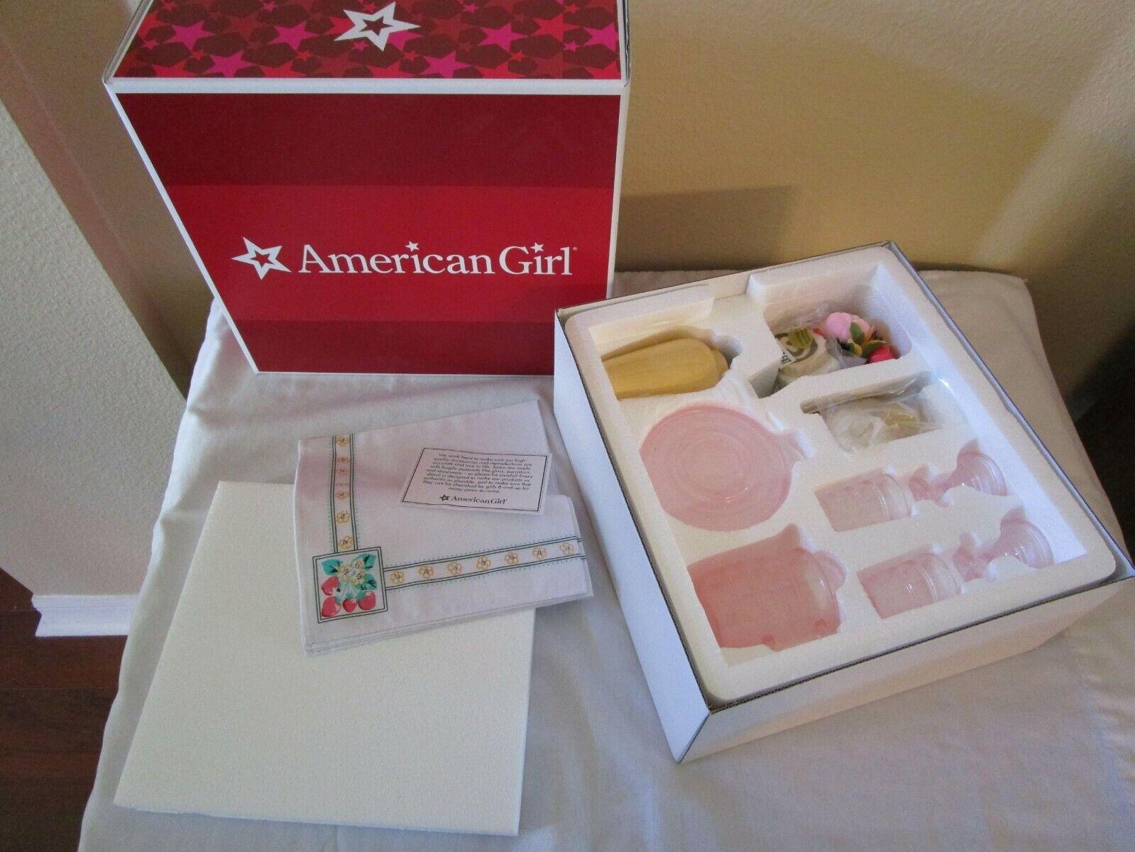 AMERICAN GIRL Kit's Birthday Set Glassware and Linens BRAND NEW
