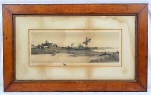 Antique 19th Century Etching Print N.B. Nani Pencil Signed Black Crow Remarque