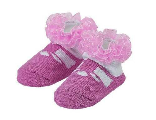 Details about  /Maison Chic Pink Mary Jane Socks with Ruffles  0-6 Months