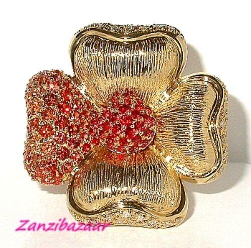 SONIA BITTON 14K YELLOW GOLD RED ORANGE SAPPHIRE & DIAMOND FLOWER RING