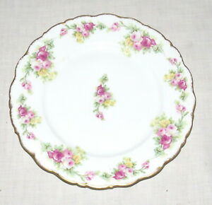 Elite-Works-Limoges-France-8-75-inch-Luncheon-Dinner-Plate-Red-Yellow-Roses