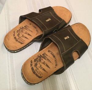 NEW-Mann-Black-Slide-On-Sandals-Men-039-s-Size-10
