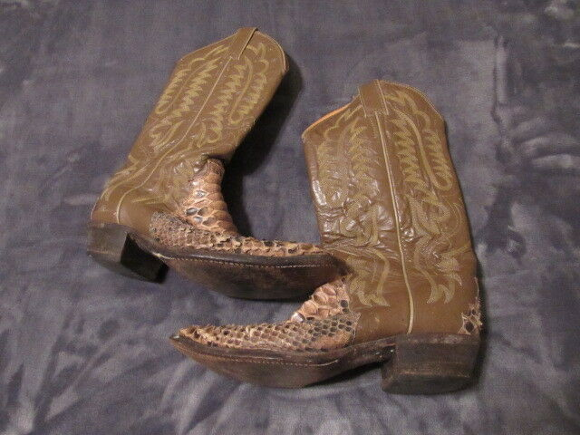Old School Country Boa Snake Skin Justin Justin Justin Men's Cowboy Boots SIZE 8.5 D 06bf52