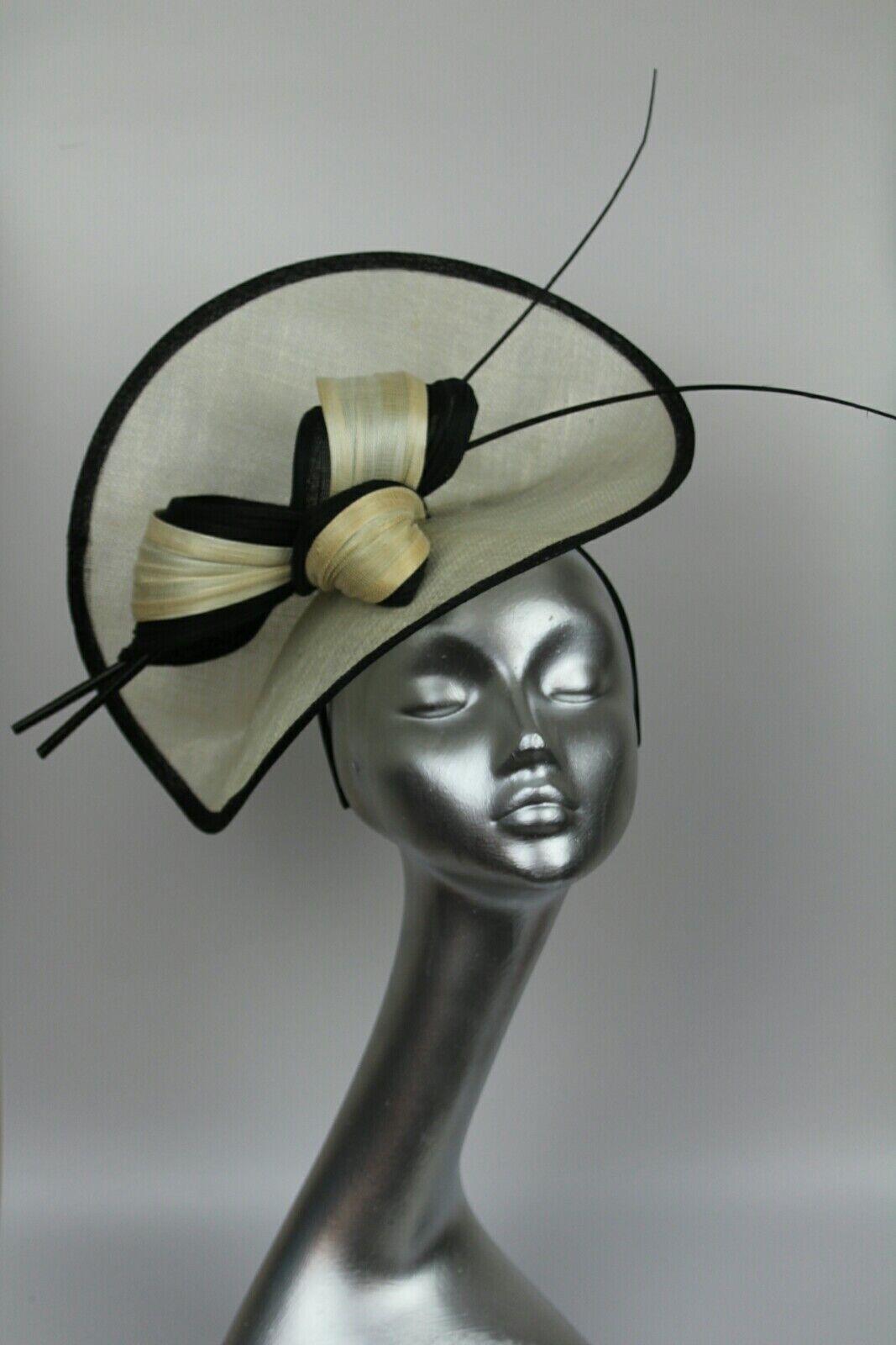 Ladies large cream & black hatinator hat Ascot races wedding fascinator