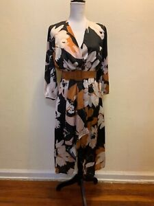 Rinascimento-Black-White-Brown-Floral-Wrap-Belted-Dress-Made-In-italy-Size-M-L