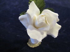 "Vintage Millinery Flower 2"" White Rose Cotton Fabric for Hat Wedding or Hair Z23"