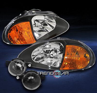 CAR Headlight Lamp Car & Truck Headlights BLACK HOUSING AMBER ...
