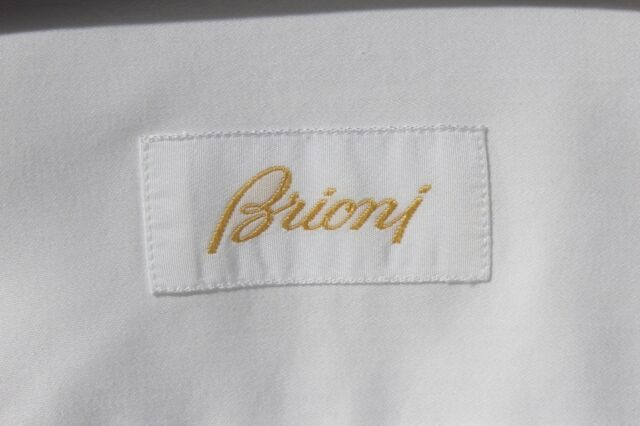 Brioni Gent's 16.5 / 36 White Formal French Cuff Dress Shirt - Italy - $850.00