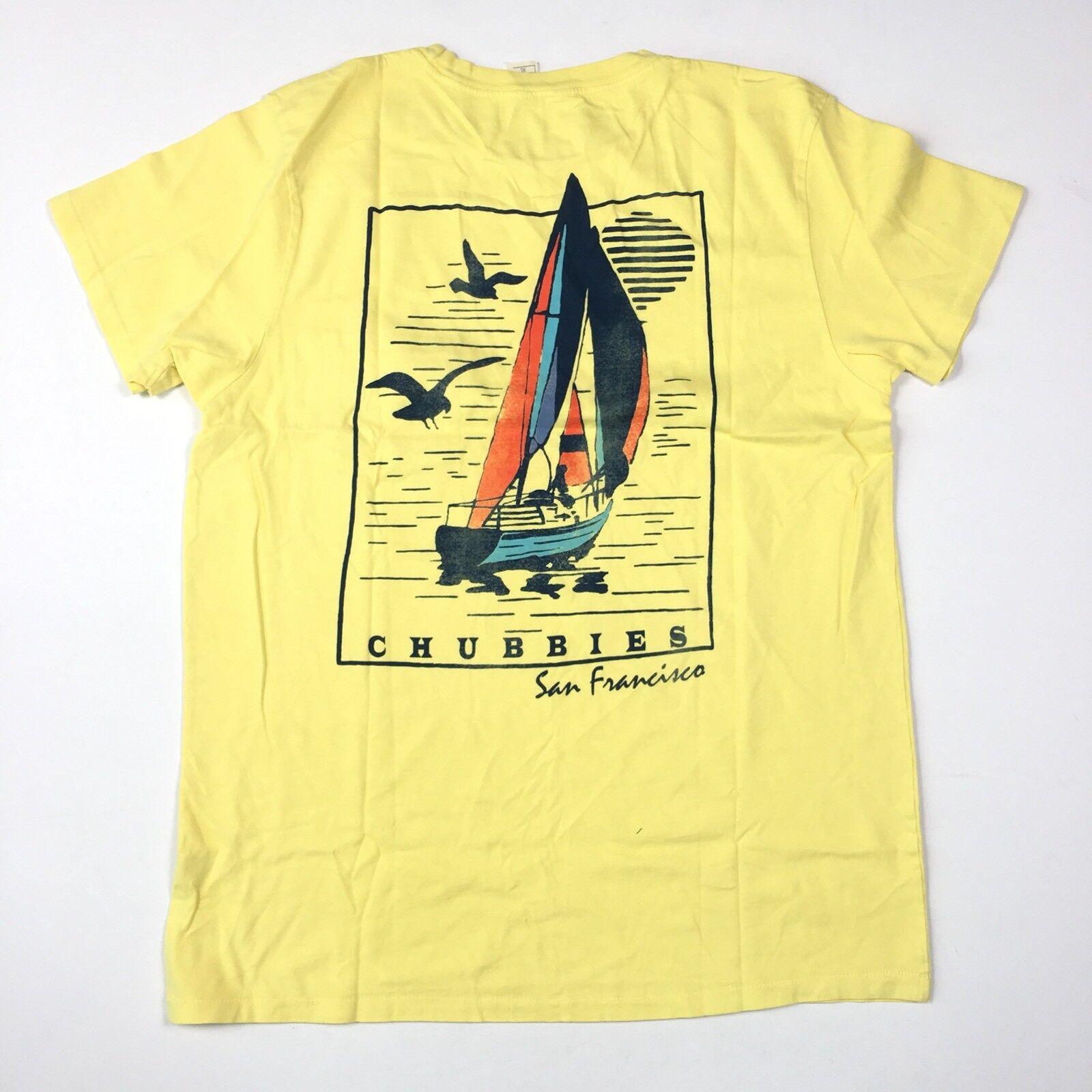 Chubbies Shorts Vintage Tasche T-Shirt Segeln XL Gelb San Francisco