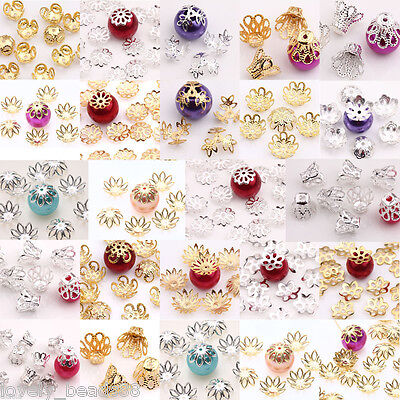 New Gold Silver Plated Filigree Flower Hollow Flower End Beads Caps Charms DIY