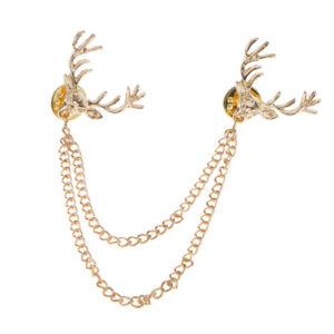 Deer-Head-Elk-Shirts-Collar-Neck-Tip-Brooch-Pin-Chain-Tassel-Women-Accessory