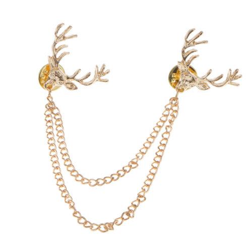 Deer Head Elk Chemises Col col Astuce Broche Broche Chaîne Tassel Femmes Accessoire